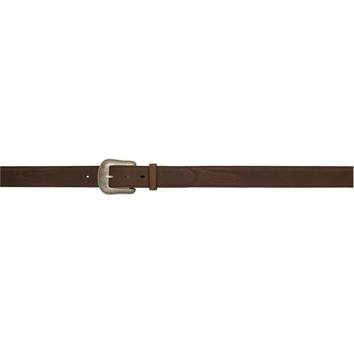 3D 1 12 Pebble Grained Overlay Western Basic Belt Mens Dark Brown