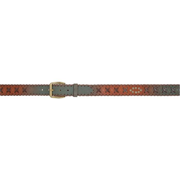 """3D 1 1/2"""" Cross Lacing Western Fashion Belt - Men's - Brown/Turquoise"""