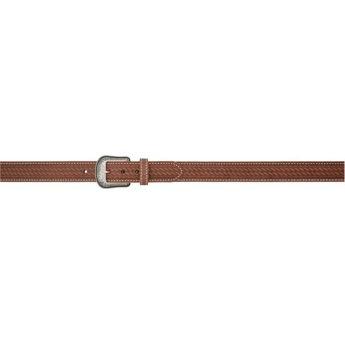 """3D 1 1/2"""" Basketweave Western Fashion Belt - Men's - Brown/White Stitch"""