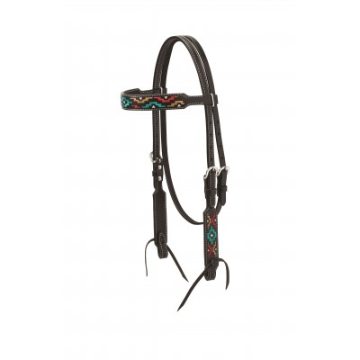 Weaver Turquoise Cross Multicolor Embroidered Browband Headstall