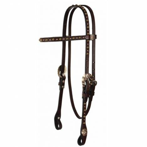 Reinsman Chocolate Bridle Leather Browband Headstall with Spots