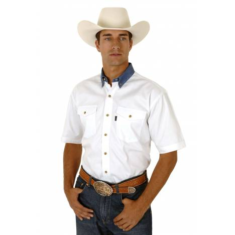 Roper White Twill Short Sleeve Shirt with Denim Button Down - Mens