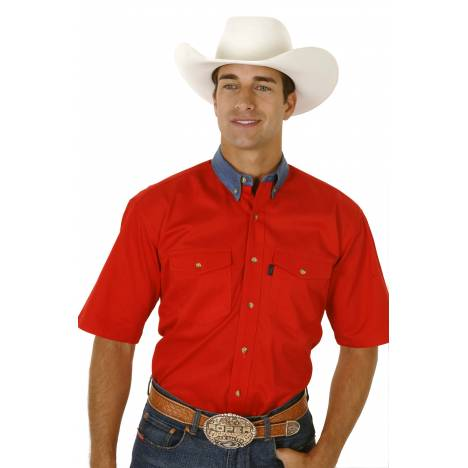Roper Red Twill Short Sleeve Shirt with Denim Button Down - Mens