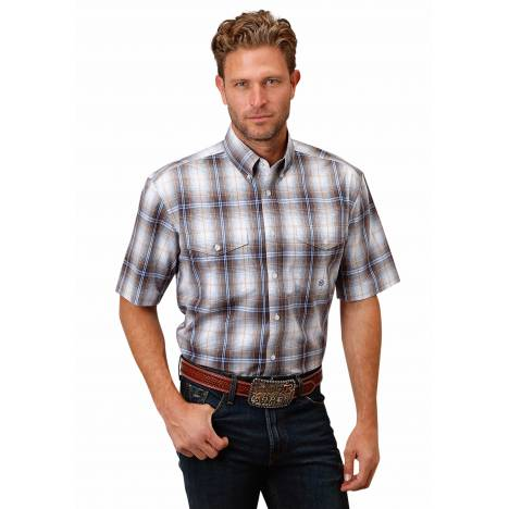 Roper 1525 Bluesy Plaid Short Sleeve Shirt - Mens
