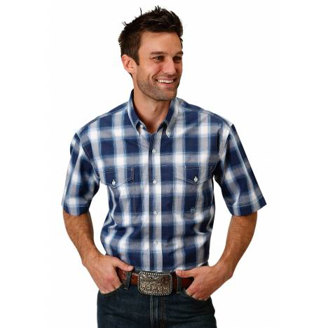 Roper 1677 Navy Plaid Short Sleeve Shirt - Mens