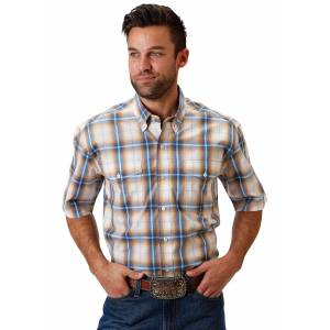 Roper 0965 Canyon Ombre Plaid Short Sleeve Shirt - Mens