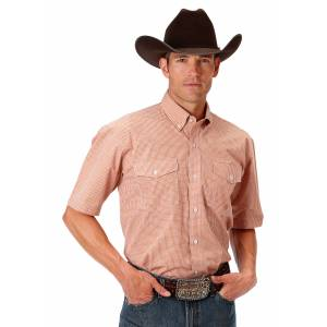 Roper 0969 Orange Mini Check Short Sleeve Shirt - Mens