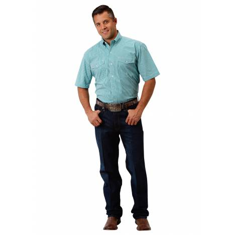 Roper 1680 Amarillo Jade Check Short Sleeve Shirt - Mens