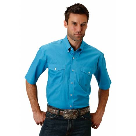 Roper 1691 Solid Turquoise Poplin Short Sleeve Shirt - Mens