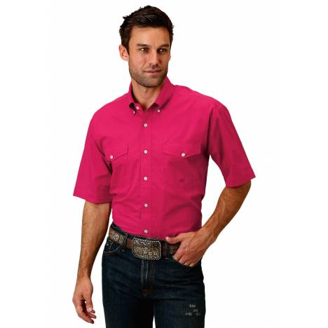 Roper 1691 Solid Red Poplin Short Sleeve Shirt - Mens