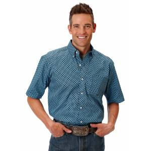 Roper 0976 Bias Geo Short Sleeve Shirt - Mens