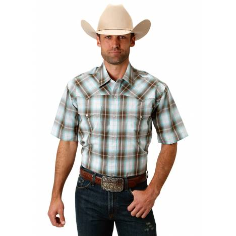 Roper 1674 Sage Creek Plaid Short Sleeve Shirt - Mens