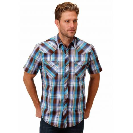 Roper 1534 Mallard Plaid Short Sleeve Shirt - Mens