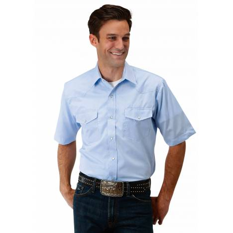 Roper 1649 Diamond Tone On Tone Blue Short Sleeve Shirt - Mens