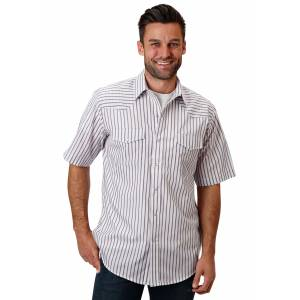 Roper 1049 Eggplant Stripe Short Sleeve Shirt - Mens