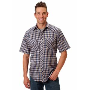 Roper 1039 Blue, & Tan Plaid With Gold Lurex Short Sleeve Shirt - Mens