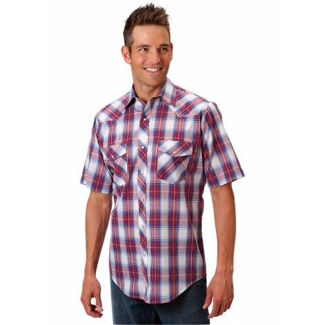 Roper 1028 Royal, Red & White Plaid Short Sleeve Shirt - Mens