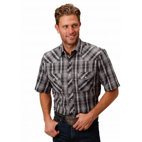 Roper 1632 Black, Grey, & White Plaid Short Sleeve Shirt - Mens