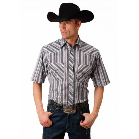 Roper 1635 Grey, Red, & White Plaid Short Sleeve Shirt - Mens