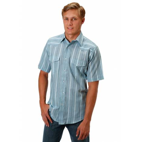Roper 1044 Wide Teal Stripe Short Sleeve Shirt - Mens