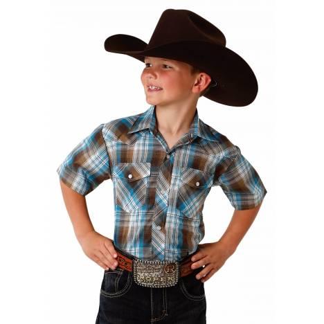 Roper 1647 Turqoise & Brown Plaid Short Sleeve Shirt - Boys