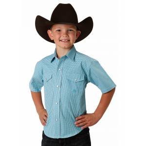 Roper 1529 Mini Turquoise Check Short Sleeve Shirt - Boys