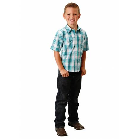 Roper 1672 Jade Plaid Short Sleeve Shirt - Boys