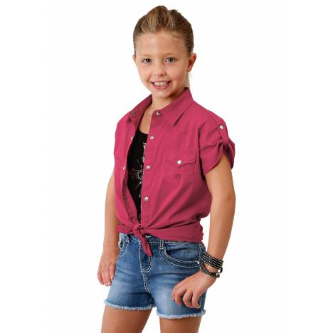 Roper 1691 Solid Red Poplin Short Sleeve Shirt - Girls