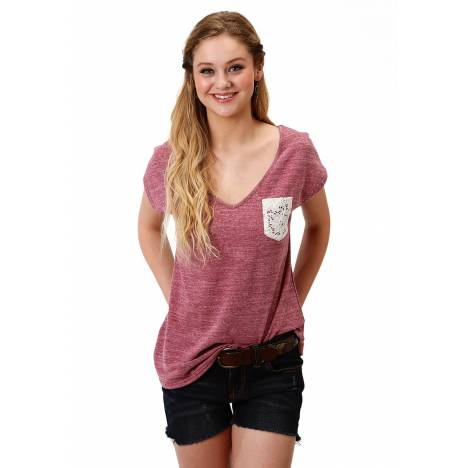 Roper 1604 Poly Cotton Heather Knit Tee - Ladies