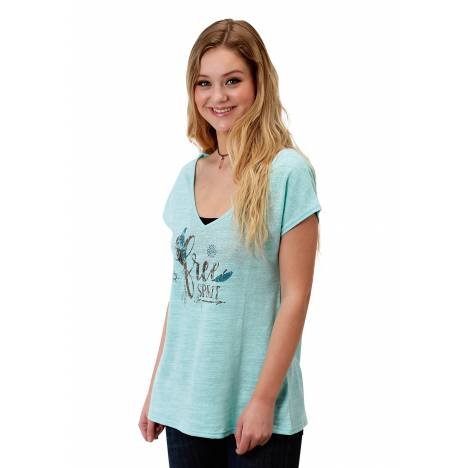 Roper 1607 Poly Cotton Knit V Neck Tee - Ladies