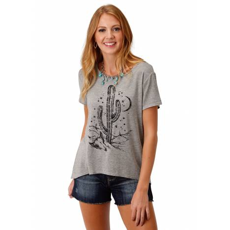 Roper 1802 Heather Grey Knit Loose Fit Tee - Ladies