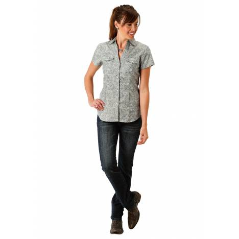 Roper 1689 Sage Brush Paisley Short Sleeve Shirt - Ladies