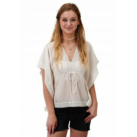 Roper 1627 White Cotton V Neck Blouse - Ladies