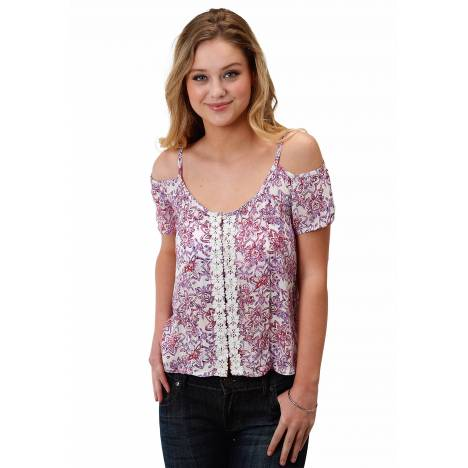 Roper 1625 Floral Print Cold Shoulder Blouse - Ladies