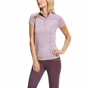 Ariat Odyssey Seamless Short Sleeve 1/4 Zip - Ladies - Plum Shadow