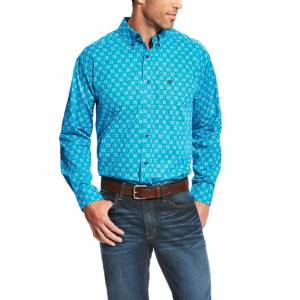 Ariat Laketon Long Sleeve Print - Mens - Deep Aqua