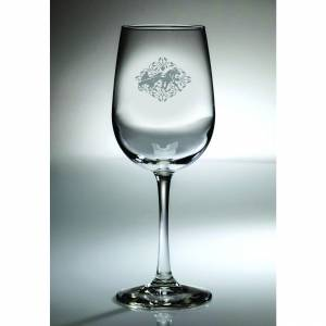 Kelley Harness Racing Floral Etched Wine Glass