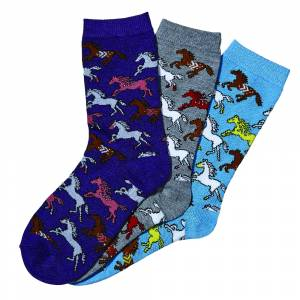 Kelley Ladies Southwest Ponies Crew Socks - 3 Pack,
