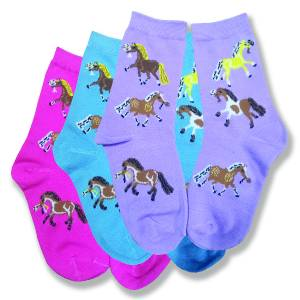 Kelley Kids Puff Ponies Crew Socks - 3 Pack