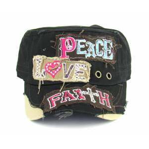 Savana Patch Army Hat - Peace, Love, Faith