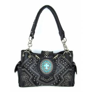 Savana Conceal Carry Satchel Style Handbag -Cross And Stone Accents.