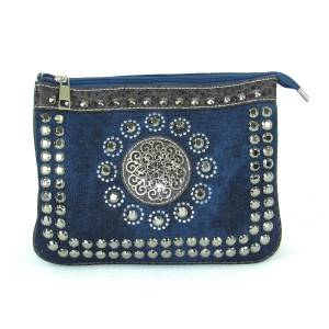 Savana Denim Crossbody With Stone And Stud Embellishments