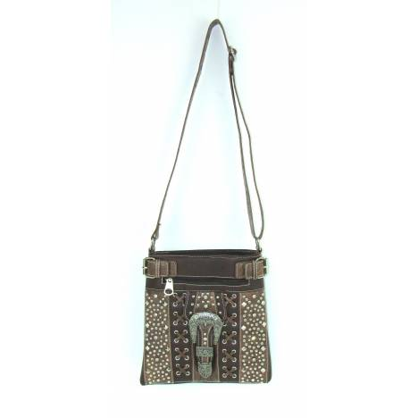Savana Multi-Pocket Crossbody/Messenger Bag With Pewter Studs