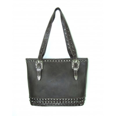Savana Concealed Carry Large Tote Bag With  Croco Trim & Studs