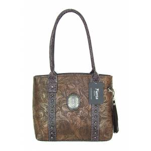 Fierce Tooled Professional Carry Handbag With Concho & Croco Trim