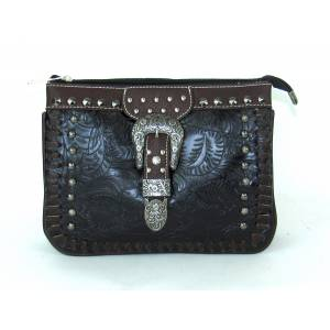 Savana Tooled Crossbody Organizer With Whipstitch Trim