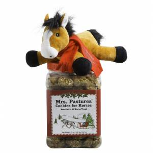 Mrs Pastures Christmas Cookies Jar with Plush Horse Topper