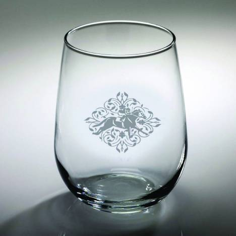 Kelley Racing Floral Etched Stemless Wine Glass