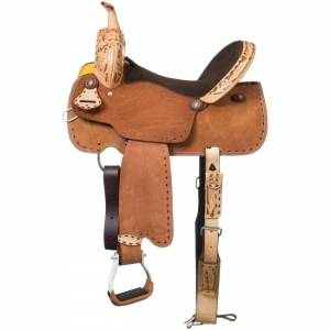 Royal King Reno Buckstitch Roughout Barrel Saddle