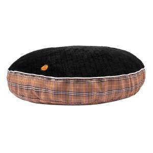 Halo Round Tan Perfect Plaid Dog Bed